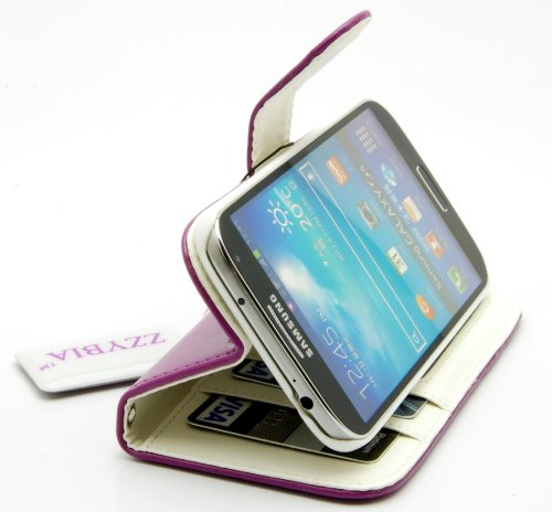 ZZYBIA® S4 HHD Purple Leatherette Stand Case Card Holder Wallet With White Dog Fringed Dust Plug Charm for Samsung Galaxy S4 IV I9500 I9505