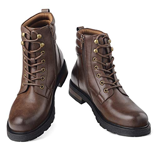 GM GOLAIMAN Mens Motorcycle TAFT Dress Boots - Lace Up Zip Boots Military Tactical Work Combat Hiking Botas Invierno Hombre, 8 M US, 3 Dark Brown ()