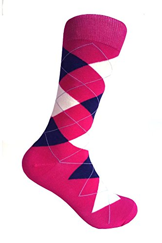 (Men's Groomsmen Wedding|Party Events|Gala Collection Argyle Dress socks,Hot Pink/Navy/Off White)