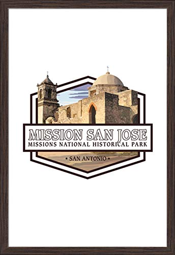 Fp Painting Wood (San Antonio Missions National Historical Park, Texas - Mission San Jose - Contour (24x36 Giclee Art Print, Gallery Framed, Espresso Wood))