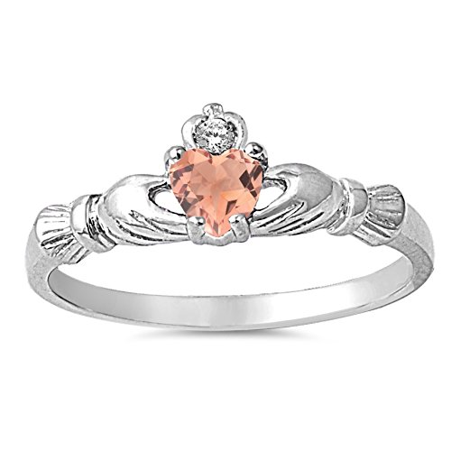 Silver Faceted Rose (925 Sterling Silver Faceted Natural Genuine Rose Quartz Claddagh Heart Promise Ring Size 8)