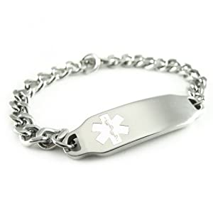 MyIDDr - Pre Engraved - Diabetes Type 1 Alert ID Bracelet, White Symbol