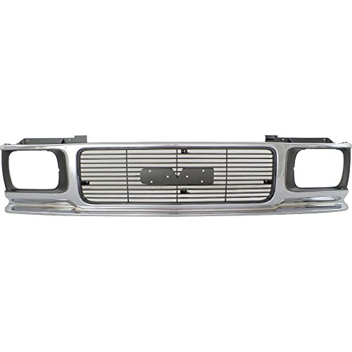 (Grille for GMC Jimmy 92-94 Sonoma 91-93 ABS Plastic Chrome Shell/Painted-Gray Insert)