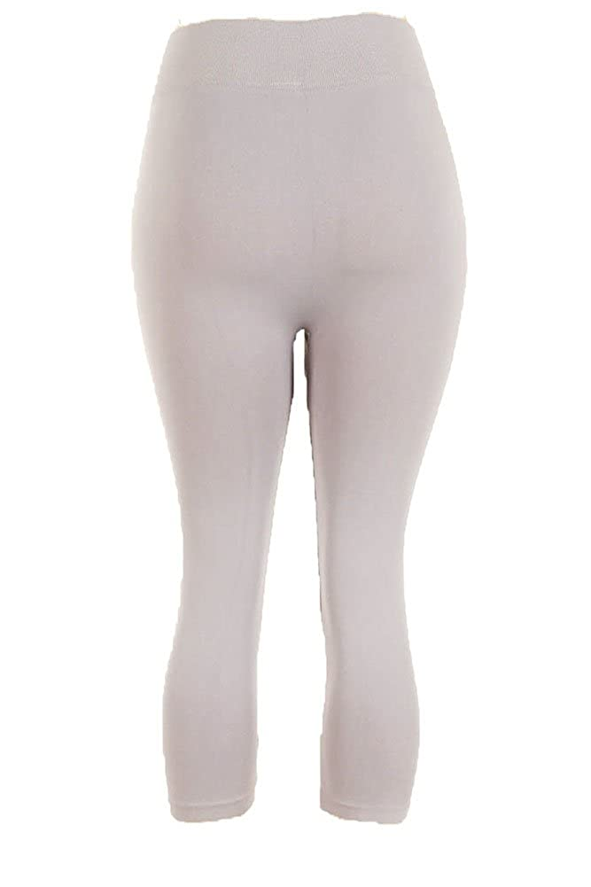 ec15d821e72fe0 Yelete Women's Plus Size Capri Cropped Solid Color Leggings-Black at Amazon  Women's Clothing store: