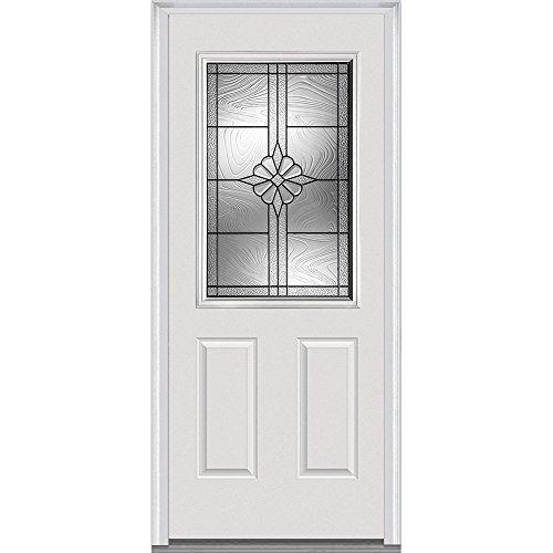National Door Company ZA21391L Fiberglass Smooth Prehung Left Hand In-Swing Entry Door, 1/2 Lite, 2-Panel, Dahlia Collection, 32