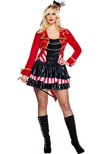 MUSIC LEGS Women's Plus-Size Ravishing Ring Mistress Plus Size, Red/Black, 3X-4X (Mistress Costumes)