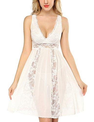 (DLOREUK Womens Long Lingerie Dress V Neck Chemise Sheer Gown White XXL)