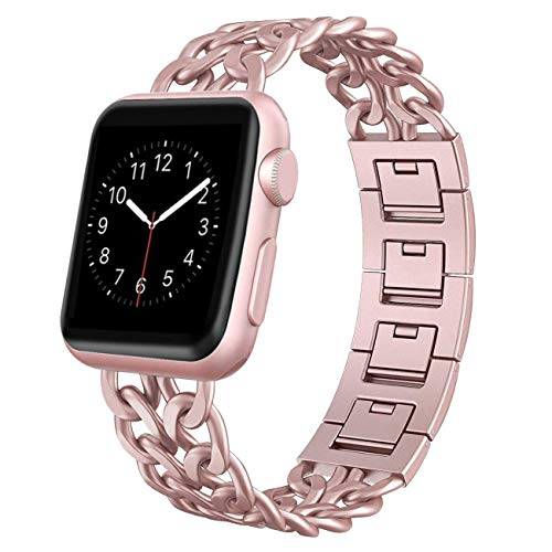 AOKAY Replacement Bands Compatible for Apple Watch 38mm 42mm Stainless Steel Metal Cowboy Chain Strap Wrist Band for Apple Watch 40mm 44mm Series 4 3 2 1 Sport and Edition