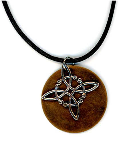 Urban Moon Silver Tone Celtic Knot with Copper Tone Circle Necklace Brown Cord Brown Celtic Pendant