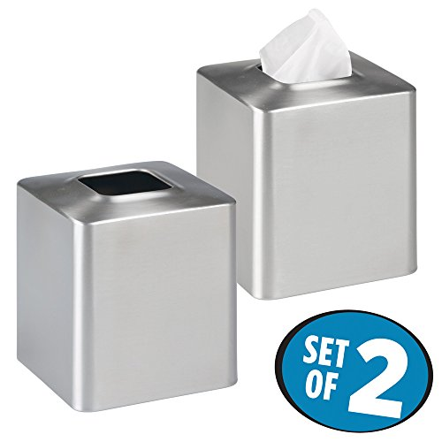 Large Product Image of mDesign Facial Tissue Box Cover/Holder for Bathroom Vanity Countertops - Pack of 2, Brushed Stainless Steel