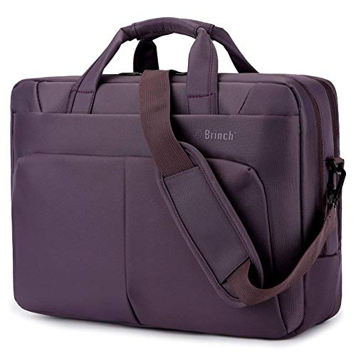BRINCH Laptop Bag 15.6 Inch Nylon Messenger Bag Water Resistant Travel Briefcase Laptop Shoulder Bag Durable Notebook Tablet Sleeve Case w/Multiple Compartments for Business/College/Women, Purple (Messenger Bag For Notebook)