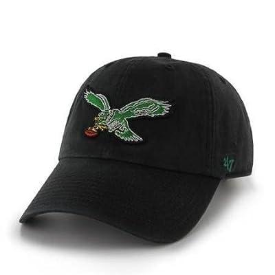 Philadelphia Eagles '47 Brand Clean Up Throwback Logo Adjustable Hat - Black from 47 Brand, LLC