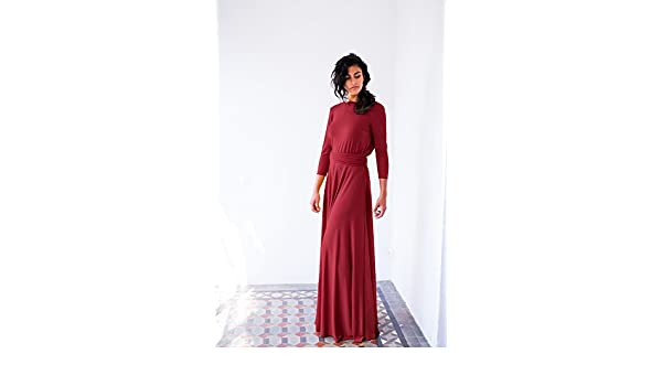 Amazon.com: Bordeaux long sleeve evening dress, oxblood red maxi dress, long sleeve wrap dress, wedding guest dresses, convertible long dress, ...