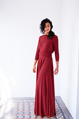 Bordeaux long sleeve evening dress, oxblood red maxi dress, long sleeve wrap dress, wedding guest dresses, convertible long dress, red dress by Mimètik Bcn