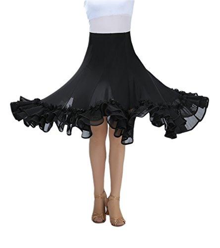 CISMARK Elegant Ballroom Dancing Flamenco Waltz Latin Dance Skirt For Girls Black One Size ()