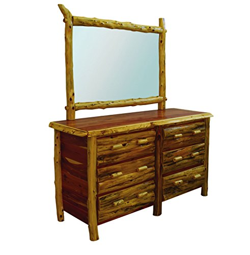 Log Drawer Six Cedar Dresser - Rustic Red Cedar Log 6 Drawer Dresser with Mirror- Amish Made in the USA