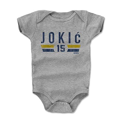 500 LEVEL Nikola Jokic Baby Clothes, Onesie, Creeper, Bodysuit 3-6 Months Heather Gray - Denver Basketball Baby Clothes - Nikola Jokic Denver Font B