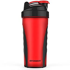 Joyshaker Shaker Bottle for Protein Mixes, Leak Proof Guarantee BPA and Phthalate-Free Plastic Wide Mouth Gyms Sports Shaker Cup With Mixer 28oz (Dark red)