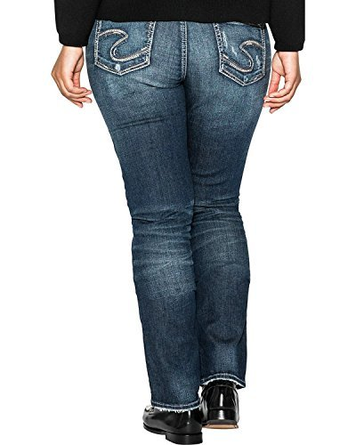 Silver Jeans Co. Women's Plus Size Elyse Relaxed Fit Mid Rise Straight Leg Jeans, Dark Sandblast Wash, 16 X 32