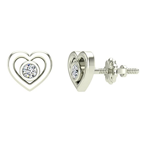 Diamond Earrings Heart Shape Studs 10K White Gold - Bezel Setting Screw Back Posts (0.10 carat total)