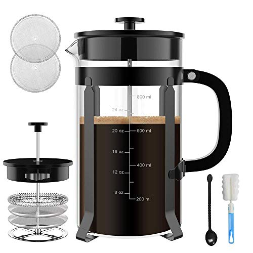 Chrider French Press Coffee Maker (32 oz 8 Cups) Coffee Press with 304 Stainless Steel Stand and 4 Filter Screens, Precise Scale Easy to Clean Durable Heat Resistant Borosilicate Glass – Black