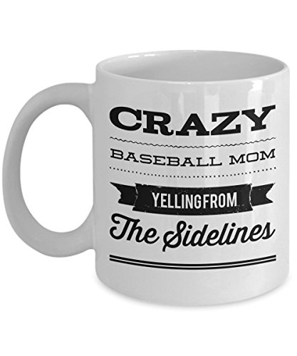 Baseball Mom Coffee Mug-Crazy BBall Mother Ceramic Tea Cup-Gift for Her-add to bag basket ()