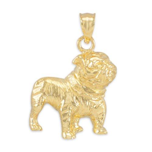 Gold Pug Dog Charm (Polished 10k Yellow Gold English Bulldog Charm Pendant Pendant)