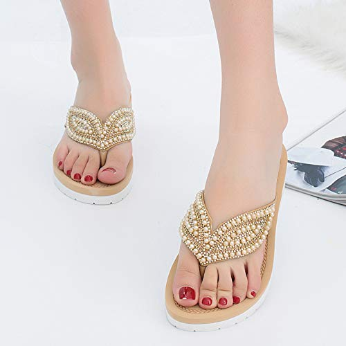 Crimeng Women Flip Flop Summer Wedge Thick Bottom Non-Slip Beach Casual Slippers
