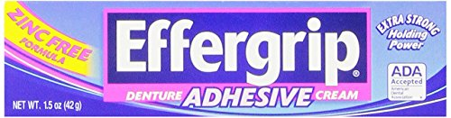 Effergrip Denture Adhesive Cream | Extra Strong Denture Holding Power | 1.5 OZ -
