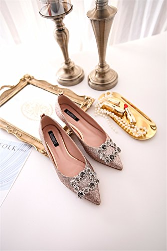 With Party Fine Shiny New With High Color Tip The Ties Cats Fashion Women Champagne HXVU56546 Wild Heeled Shoes 4vqHW