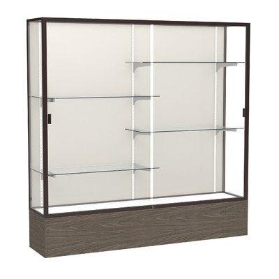 Waddell Reliant W x 72'' H x 16'' D Floor Case, Mirror Back, Satin Finish, Walnut Vinyl Base Display, 72''x72''x16'', Light Oak/Dark Bronze