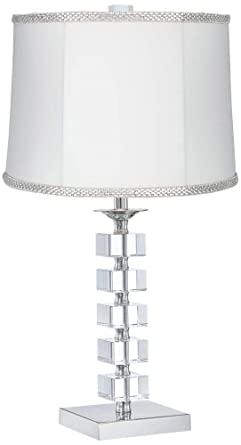 Stacked Cubes Crystal Table Lamp With White Rhinestone Shade