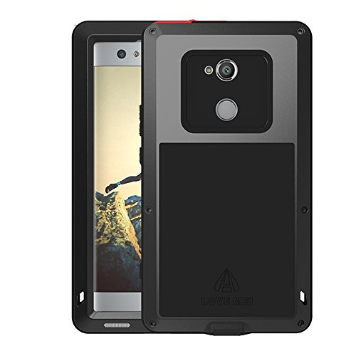 Sony Xperia XA2 Ultra Case,Mangix Water Resistant Shockproof Aluminum Metal [Outter] Super Anti Shake Silicone [Inner] Fully Body Protection with Glass Screen for Sony Xperia XA2 Ultra (Black)
