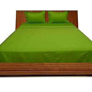 LaxLinens 300hilos algodón egipcio de juego de cama (+ 15pulgadas) extra profundo bolsillo UK solo, loro verde sólido