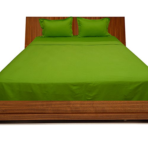 Relaxare Cal Queen 300TC 100% Egyptian Cotton Parrot Green Solid 4PCs WaterBed Sheet Solid (Pocket Size: 24 inches) (Metal Sheet 0.125')