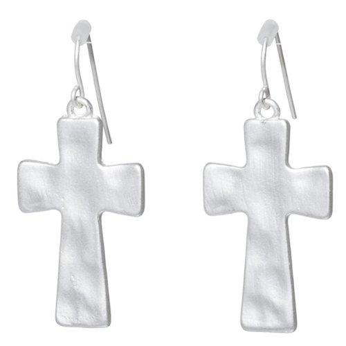 Designer Inspired 1.25 Inch Matte Silver Toned Hammered Cross Earrings.
