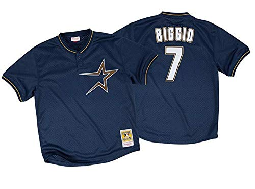 Mitchell & Ness Craig Biggio Houston Astros Men's Navy Blue 1997 Authentic Throwback MLB Batting Practice Jersey (5X-Large)