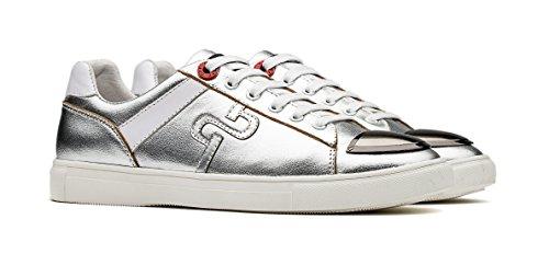 Casual Cuero Piel Sneakers de Hombres Zapatos Plateado OPP Azxq588