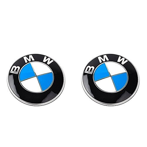 2pcs Fast Ship Runden Round Car Auto Classic Blue White 82mm Hood & 82mm Trunk Round Compatible Replacement Emblem Logo Badge For (BMW)
