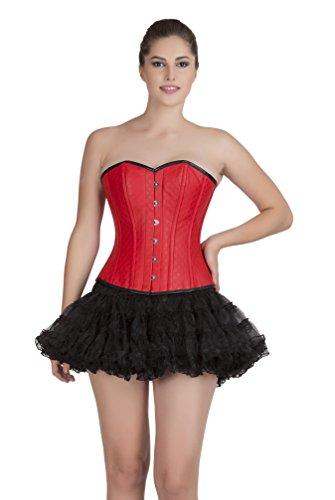 何おめでとう消化器Red Leather Waist Cincher Overbust Costume Black Tissue Tutu Skirt Corset Dress