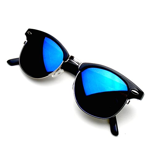 Retro Fashion Half Frame Flash Mirror Lens Clubmaster Wayfarer Sunglasses (Blue Ice) (Lenses Clubmaster Flash Blue)