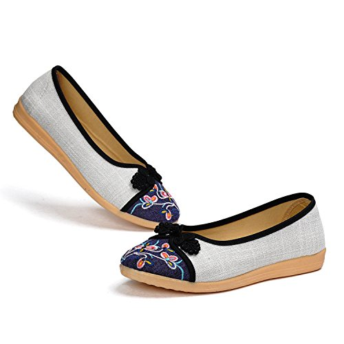permeabilidad estilo Bordar planos desnuda Purple China Nacional DYF zapatos Mujer FZBqq18