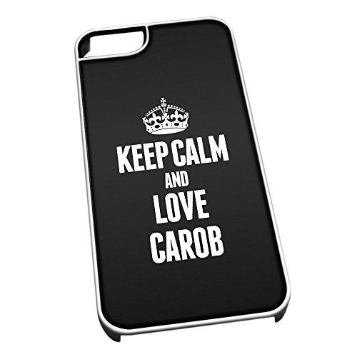 Bianco cover per iPhone 5/5S 0913nero Keep Calm and Love carruba