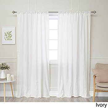 1b736f083543c Aurora Home Belgian Flax Linen Curtain Panel Ivory 84 Inches 84 Inches
