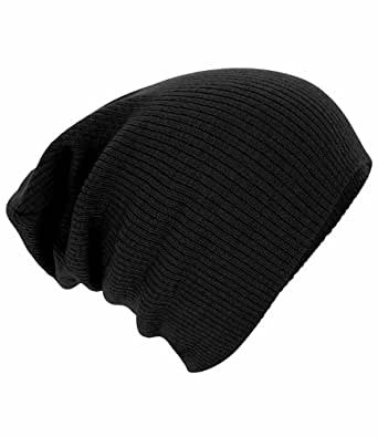 Beechfield - Gorro de invierno, hombre, Beechfield - Slouch Beanie, negro, talla única