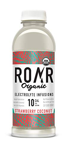 Roar | Organic Electrolyte Infusion - All Natural Low Calorie Coconut Water Pure 100% Natural Hydration | Vegan, Gluten-Free, Low Sugar, Non-GMO | Strawberry Coconut | 12-Pack
