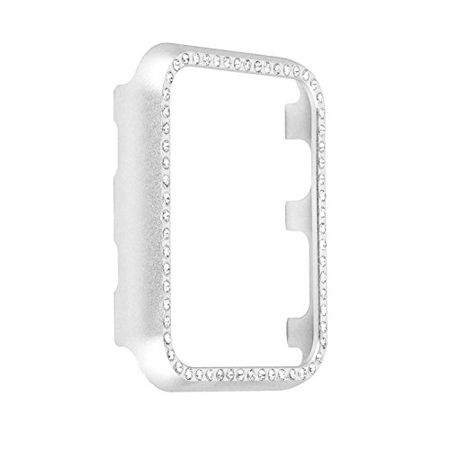 Rhinestone Watch Case (Smartwatch Bumper Case 38mm, Bling Crystal Rhinestone Diamond Aluminum Protective Frame Cover Compatible with 38mm Apple Watch Series 3, Series 2, Series 1 - Silver)