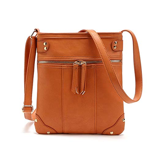 Messenger Brown Doble Light Yellow PU Bags Shoulder 23x23cm Mujeres Cremallera Bag 0OExqSgA0W
