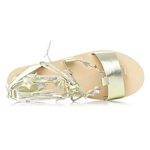 Amoonyfashion Vrouwen Koe Lederen Solide Lace-up Open-teen Niet-hak Sandalen Goud