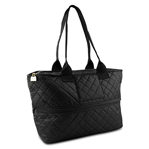 Large Zipper Tote (Pursfection Expandable Tote Bag For Women, Quilted Soft Fabric Tote, Expandable Women's Tote in one Women's Carrying Bag -)